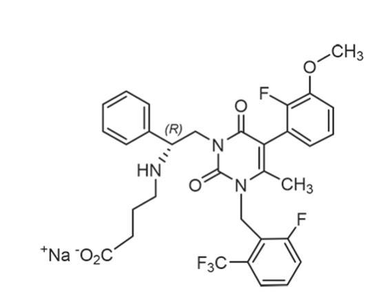 Elagolix sodium has the following structural formula