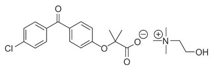 Chemical structure for fenofibric acid.