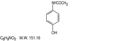 Chemical structure for acetaminophen.